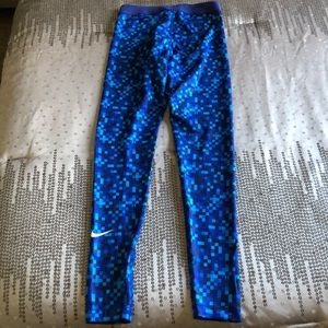 Nike Pants - Nike Pro Blue Check Print Dri-Fit Legging